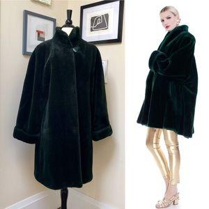 Vintage 80's faux fur coat - dark hunter green